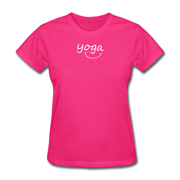Yoga with a Smile Women's T-Shirt - fuchsia