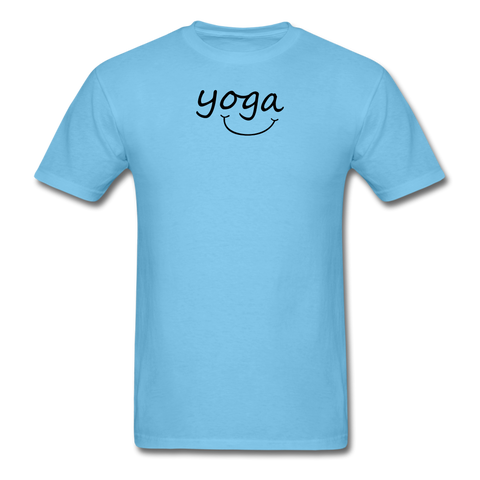 Yoga with a Smile Men's T-Shirt - aquatic blue