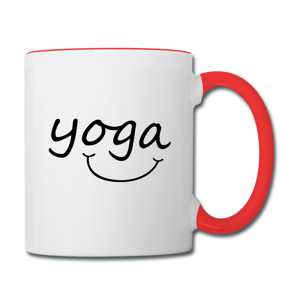 Yoga with a Smile Mug - white/red