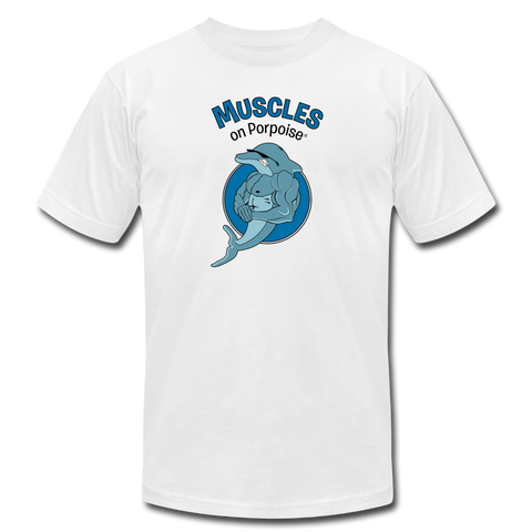 Muscles on Porpoise® Men's Jersey T-Shirt - white