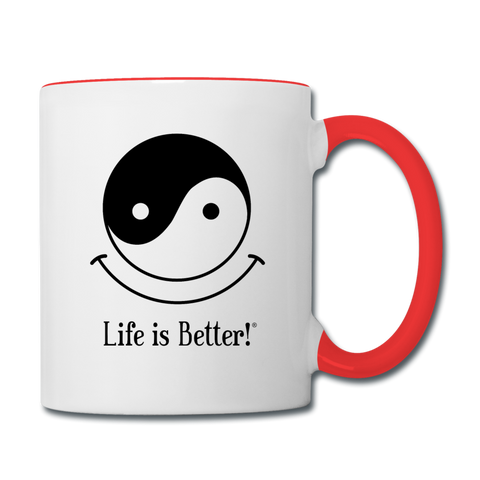 Yin and Yang Life is Better!® Mug - white/red