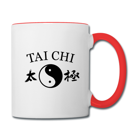 Tai Chi Yin and Yang with Kanji Mug - white/red