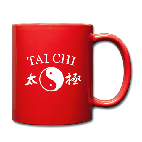 Tai Chi Yin and Yang with Kanji Mug - red