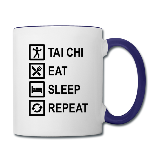 Tai Chi, Eat, Sleep, Repeat Coffee Mug - white/cobalt blue
