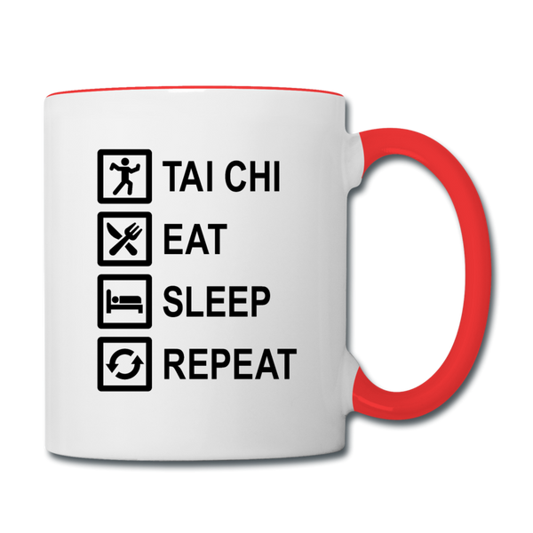 Tai Chi, Eat, Sleep, Repeat Coffee Mug - white/red