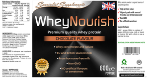600g powder: From whey concentrate and isolate (chocolate flavour)