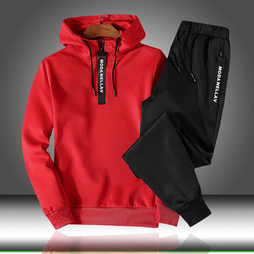 Patchwork Men's Sportswear Sets 2020 Hooded Casual Tracksuit Men 2 Piece