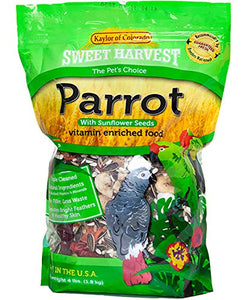 Sweet Harvest Parrot Bird Food (with Sunflower Seeds), 4 lbs Bag - Seed Mix for a Variety of Parrots