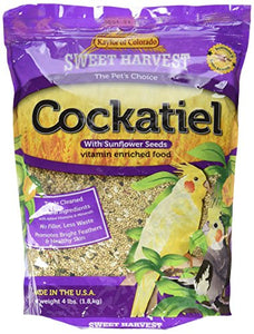 Sweet Harvest Cockatiel Bird Food (With Sunflower Seeds), 4 lbs Bag - Seed Mix for Cockatiels