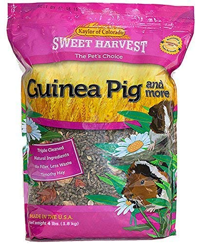 Sweet Harvest Guinea Pig Food, Premium Timothy Hay Pellets with added Specialty Ingredients, 4 lbs Bag