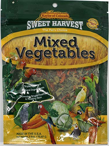 Sweet Harvest Mixed Vegetables Treat, 2.5 Oz Bag - Real Vegetables for Birds - Cockatiels, Parakeets, Parrots, Macaws, Conures