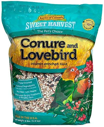 Sweet Harvest Conure and Lovebird Bird Food, 4 lbs Bag - Seed Mix for Conures and Lovebirds