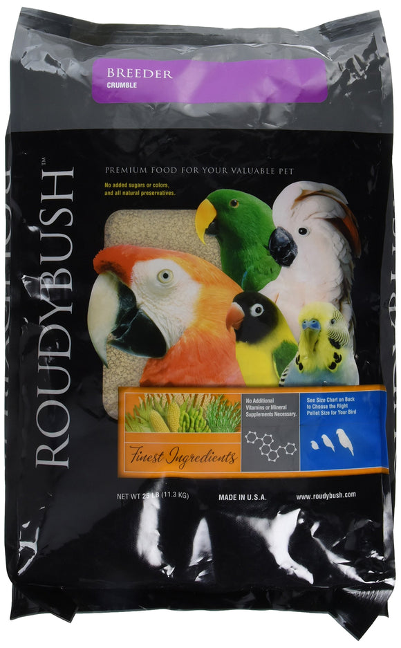 RoudyBush Breeder, Crumbles Bird Food, 25 Pound