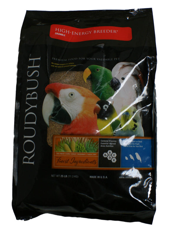RoudyBush High Energy Breeder Bird Food, Crumble, 25-Pound