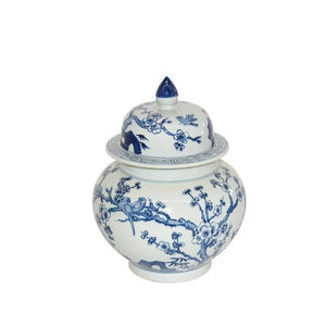 Blue and White Flower Bird Ginger Jar small