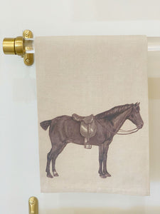 Horse and Saddle Equestrian Hand Towel in Oatmeal
