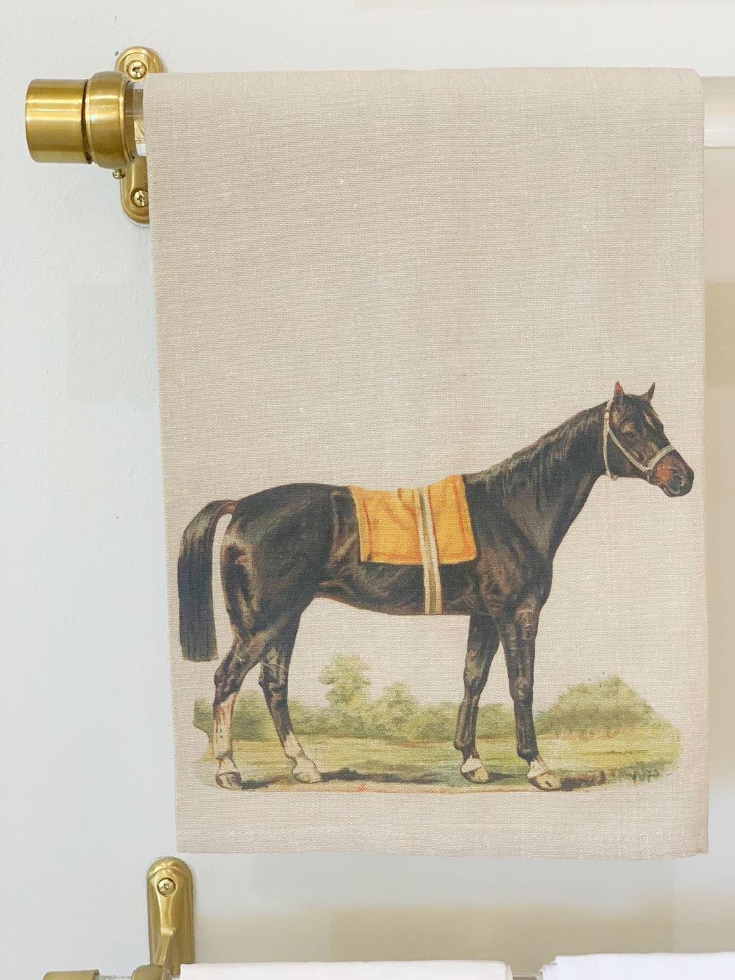 Out to Pasture Equestrian hand Towel in Oatmeal