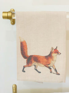 Red Fox Hand Towel in Oatmeal