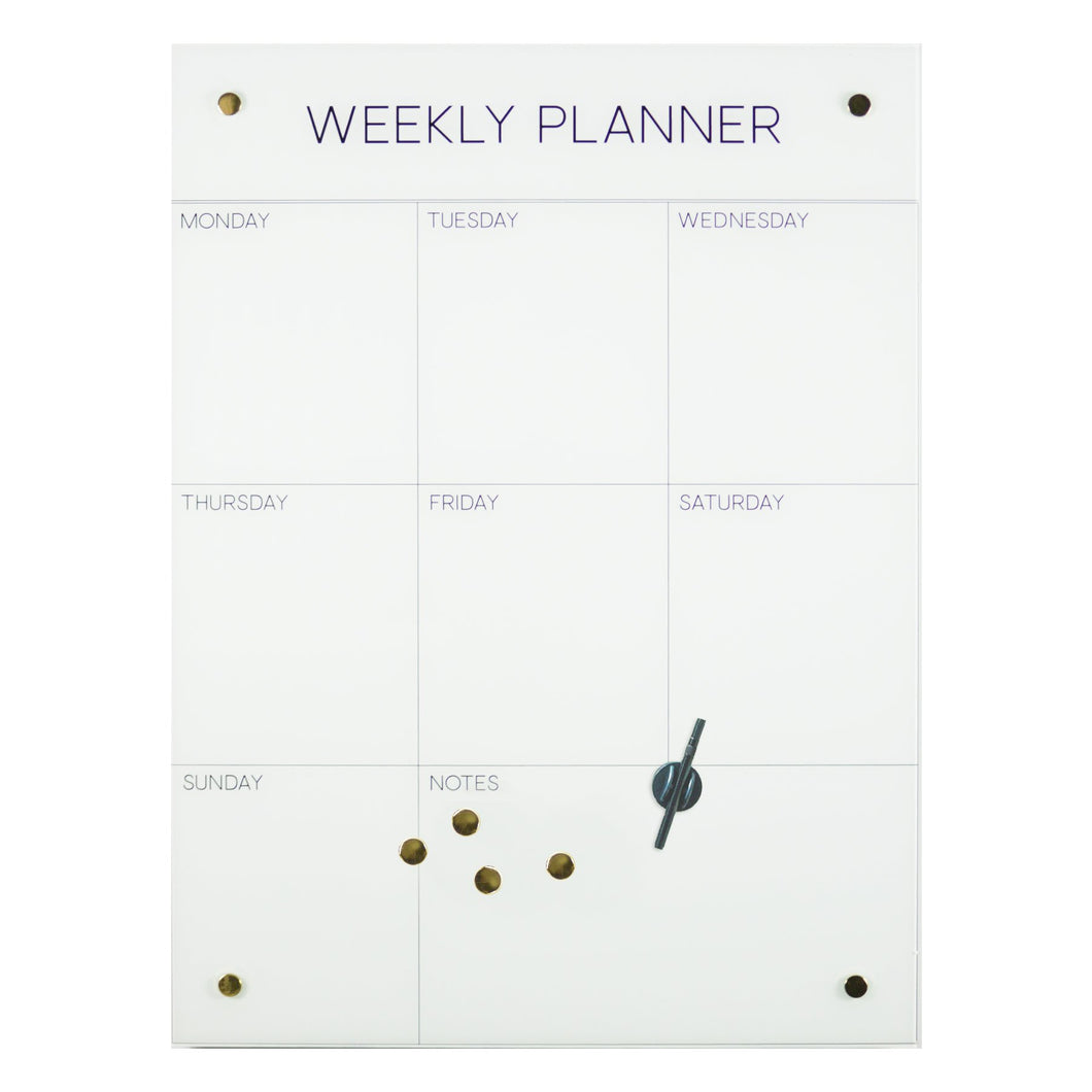 Weekly planner glass magnet board 24x32