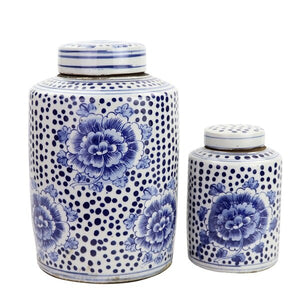 Blue and White Mini Tea Jar Peony dots Large
