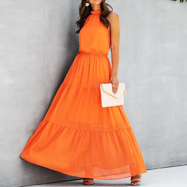 Elegant Party long Dress women 2020 Summer Fashion Halter Solid Color Backless Sexy A-line Dress women ladies dress vestidos