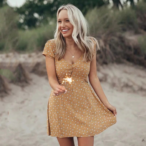Summer style 2019 Women boho Sexy mini dress party low-cut Dress Print Bohemian Yellow floral short sleeve mini beach Dresses