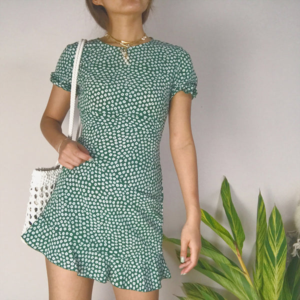 Robe femme Vintage dress Summer 2019 Sexy Beach Boho Printed ruffled short-sleeve green Dress Women Mini Female Dress Vestidos
