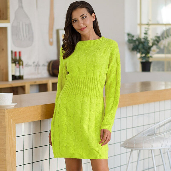 Autumn winter Sweater dress women 2019 Casual Wrapped hip waist twist sweater Knit sweaters dress female pullovers pull femme