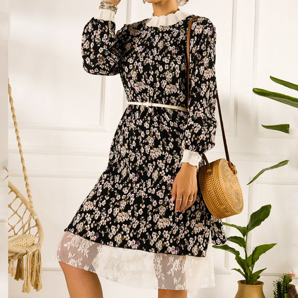 Autumn Vintage Floral chiffon pleated skirt pleated lace bottom midi dress Women winter 2019 dot dress vestido Dresses female