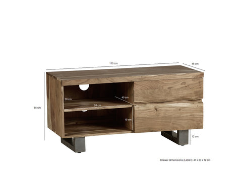Baltic Live Edge 2 Drawer Small TV by Indian Hub Furniture