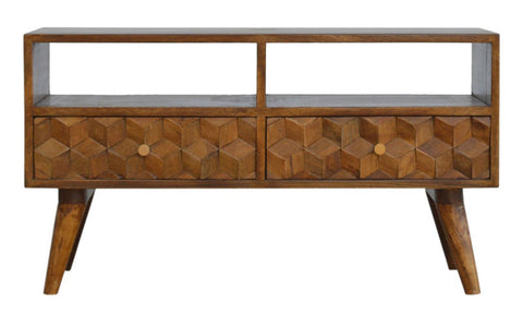 Chestnut Cube Carved TV Unit by Artisan Furniture