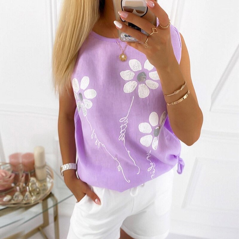 Casual Round Neck Floral Printed Beading Short Sleeve Shirt