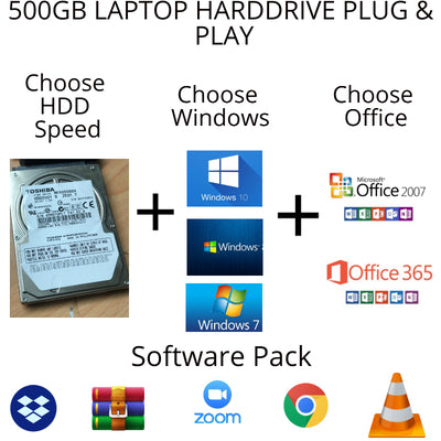 "500GB HDD 2.5"" Windows 10 + Office 365"