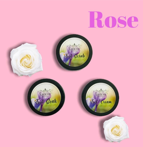 Rose Foot Kit ( Foot Cream, Foot Scrub, Foot Soak)