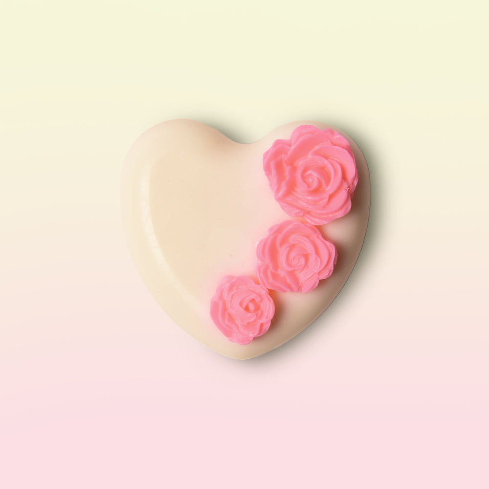 White Heart Soap With Roses