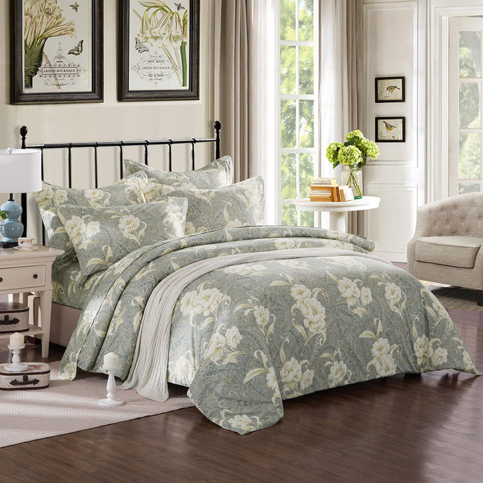 ZNL Calming Tone Luxury Floral Pattern Duvet Cover Vancouver | Made by Japanese Cotton
