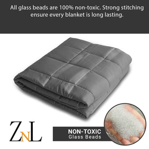 "ZNL_Dark_Grey_ Weighted_Blanket_(15 lbs_48""_x_72""_Twin_Size)_high_end_heavy_blankets"