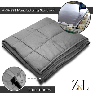 "ZNL_Dark_Grey_ Weighted_Blanket_(15lbs_60""_x_80""_Queen_Size)_high_end_heavy_blankets"