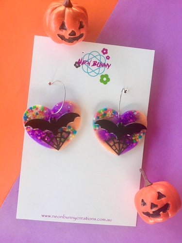 Halloween Candy Bat Dangles Spooky heart Earrings