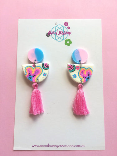 Bunny land Organic Shape Earrings With Tassels