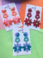 Load image into Gallery viewer, DAISY DANGLES COLOURFUL GLITTER EARRINGS
