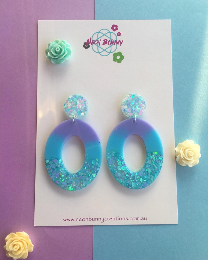 Dreamy Blue Dangles- Glitter Earring Studs