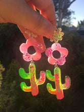 Load image into Gallery viewer, Daisy Cactus Dangles- Neon Glitter Statement Earrings (Made To Order)