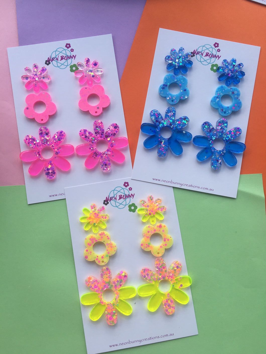DAISY DANGLES COLOURFUL GLITTER EARRINGS