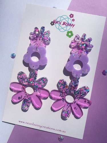 Daisy Earring Dangles - Lilac Holographic Ear Studs