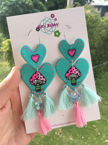 Mint mushroom heart dangles with tassels