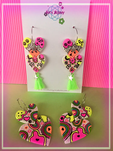 Rainbow Clay Dangles With Tassels