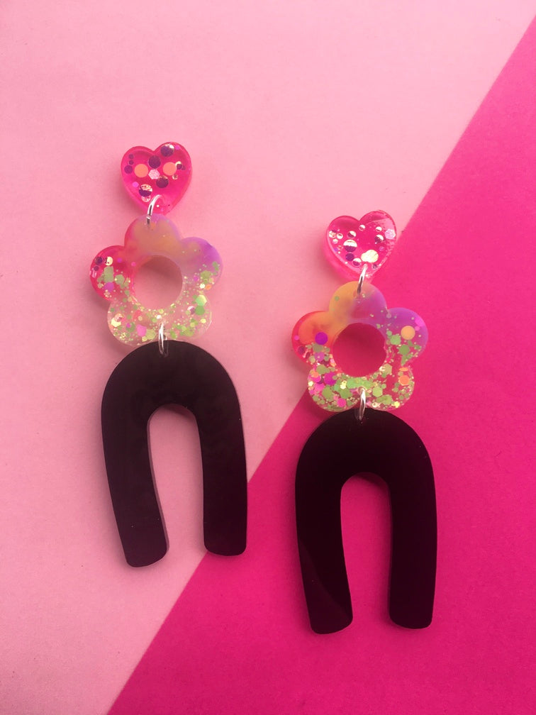 Licorice Daisy Flower Dangles- Glitter Statement Earrings