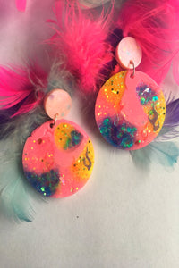 Electric candy dangle earrings