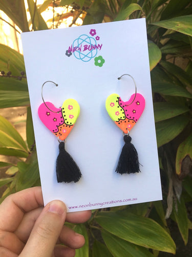 Neon Heart Dangles Clay Daisy Earrings